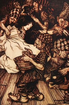 Arthur Rackham's Fairy Tales of the Brothers Grimm, 1909 edition with reworked illustrations. Snow White and seven dwarves.
