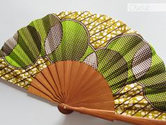 African wax print hand fan with case