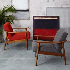 Sat in leather one. It's pretty comfy, back is a little low but feels good. Think would really like with ottoman. Mid-Century Show Wood Upholstered Chair   west elm