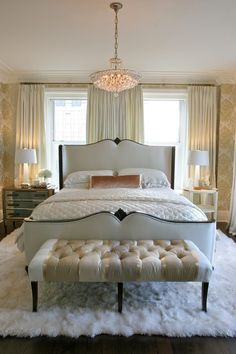 It would look nice with without the center drapery as well so the left and right panels frame that beautiful headboard!