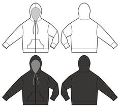 zipup hoodie jaket fashion vector illustration flat sketches template