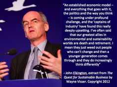 """Quotation by John Elkington from """"The Quest for Sustainable Business"""" (book) by Wayne Visser. Copyright 2012."""