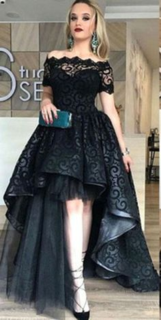 Hi-Lo Short Sleeve Black Off-the-shoulder Lace Prom Dresses,2018 Evening Gown,L114 #black #lace #highlow #off-the-shoulder #prom #party $eveningdress
