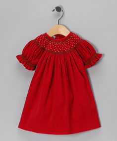 Love this Red Corduroy Bishop Dress - Infant by Classy Couture on #zulily! #zulilyfinds