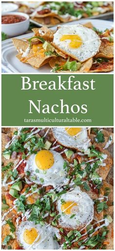 Breakfast Nachos recipe for Tortilla chips are layered with cheese, sausage, eggs, and more for delicious snack any time of the day. Breakfast Nachos, Healthy Breakfast Recipes, Yummy Snacks, Brunch Recipes, Yummy Food, Avocado Breakfast, Breakfast Club, Breakfast Casserole, Breakfast Ideas