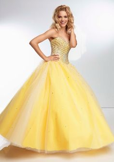 All Over Beaded Bodice On A Tulle Ball Gown Bridesmaids Dresses(HM0450)