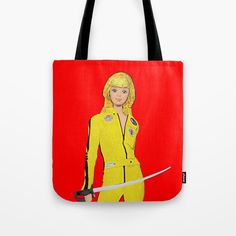 Tote Bag by plasticpam Kill Bill, Paper Bags, Poplin Fabric, Beach Towel, Reuse, Stress, Barbie, Reusable Tote Bags, Just For You