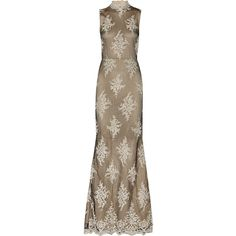 Alice + Olivia Felice embellished tulle gown ($584) ❤ liked on Polyvore featuring dresses, gowns, mushroom, embellished gown, long evening gowns, tulle gown, long sequin dress and sequin ball gown