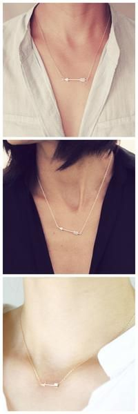Beautiful Gold and Silver Arrow Tribal Sideways Necklace .