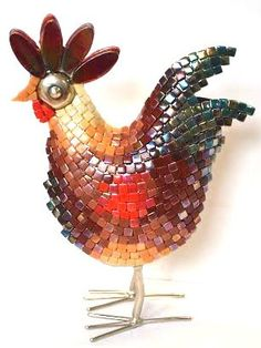 KIT - Le Coq Hardi -  Hammered nickel rooster base decorated by Lonneke with a wonderful selection of recycled tile from Turkey. #mosaic