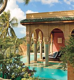 Moroccan inspired pool designed by Todd Black for model, actress and writer Veronica Webb and her family in Key West, Florida