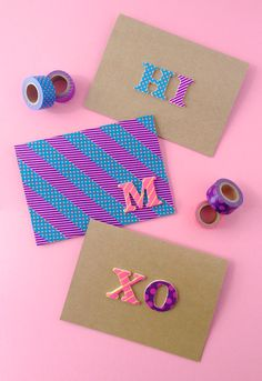 Omiyage Blogs: DIY Pop Letters Washi Tape Cards ... Love this idea! And love the striped card with monogram in the middle. So fun!