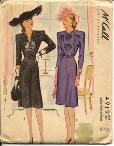 1940s Dress Pattern McCall 4919 Bust 38 Day or by CynicalGirl