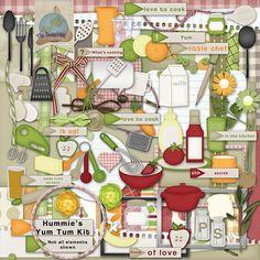 Digital Scrapbooking Recipe Cooking Yum Tum Kit by HummiesWorld, $6.00