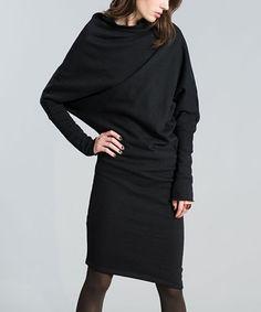 Marcella Moda Black Asymmetric Dolman Dress | zulily