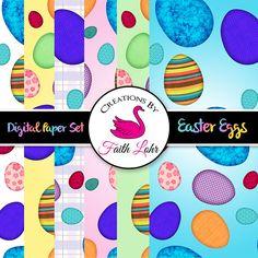 Digital Paper Set Easter Eggs Pattern Graphic Design Holiday