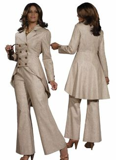 Plus Size Classy Ladies Linen Blend Pant Suit in Taupe from Fashion Bug