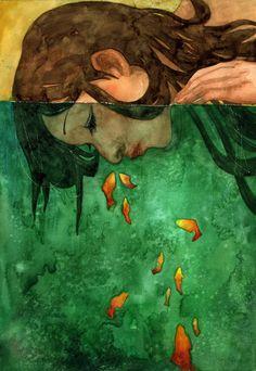 Made by: Moony Khoa Le aka Moonywolf - (Goldfish in water) Illustrations, Illustration Art, Graffiti, Art Textile, Fish Art, Love Art, Oeuvre D'art, Art Inspo, Fantasy Art