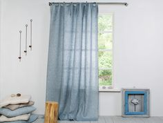 Linen Curtain Chambray Grey Blue By LinenHomeDecor