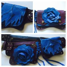 Purple and blue leather rose utility belt by NayturesEmpire on Etsy https://www.etsy.com/listing/245112038/purple-and-blue-leather-rose-utility