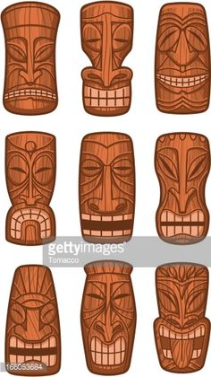 Hawaiian tiki god statue carved polynesian tikki ku lono wood vector illustration.