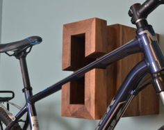 BIKE RACK: Wooden with Shelf by IndustrialFarmHouse on Etsy