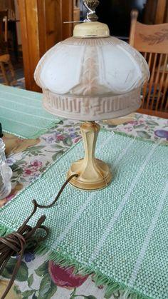 Vintage Boudoir Art Deco Table Lamp Molded Satin Glass Shade Metal Base 1930s