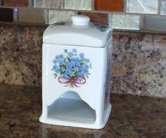 Porcelain Tea Bag Dispenser Holder With Lid & Forget Me Not Flowers All Around
