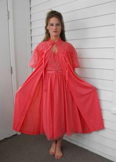 Vintage Vanity Fair Peignoir 60s Lingerie Chiffon Pink by soulrust, $79.99