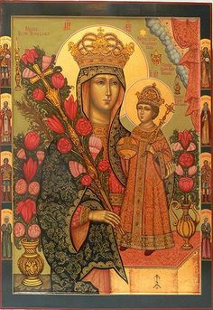 Most Holy Theotokos Unfading Bloom Religious Images, Religious Icons, Religious Art, Hail Holy Queen, Church Icon, Christian Artwork, Russian Icons, Religious Paintings, Jesus Art
