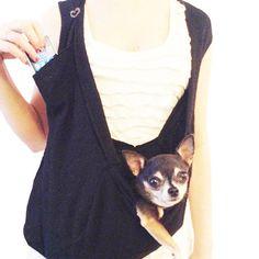 Small dog pocket pet sling scarf dog carrier bag in Black by HeartPup Dog Bike Carrier, Airline Pet Carrier, Dog Pouch, Dog Sling, Biking With Dog, Dog Wrap, Pocket Pet, Pet Carriers, Shark Tank