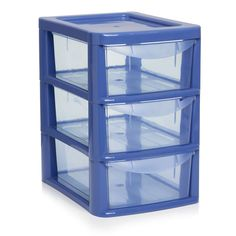 3 Drawer Tower Small Blue