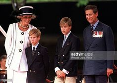 Princess Diana Prince Harry Prince William and Prince Charles at a parade in the Mall London during VJ Day commemorations August 1994 Diana is...