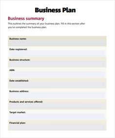 Basic Business Plan Template Free Simple Doents In Pdf Word Psd