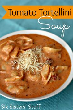 Tomato Tortellini Soup- creamy and delicious! Tastes amazing, but has simple ingredients. SixSistersStuff.com #soup