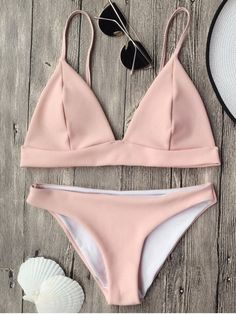 Cami Plunge Bralette Bikini Top and Bottoms - PINK M