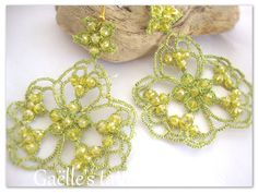 Lace earrings, lace tatted lime green earrings, original design metallic thread earrings with yellow crystals, handmade in Italy by gaestattedtreasures on Etsy
