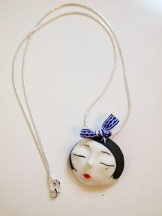 Hand-made Ceramic Pendant with a Sterling Silver Chain