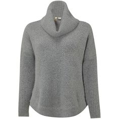 White Stuff Caraway Roll Neck Jumper, Mineral Grey (4.025 RUB) ❤ liked on Polyvore featuring tops, sweaters, white long sleeve top, white sweater, chunky white sweater, grey sweater and chunky sweater