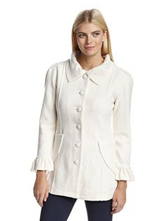 www.myhabit.com  Charming button-front coat with wide pointed collar, pleated shoulders, ruffled cuffs and curved patch pockets