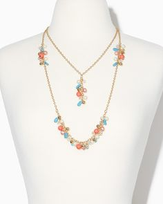 charming charlie | Double Cluster Pendant Necklace | UPC: 410007400411 #charmingcharlie