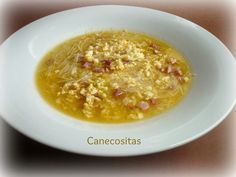 Económica sopa de fideos con tropezones de jamón y huevo duro, preparada con thermomix.