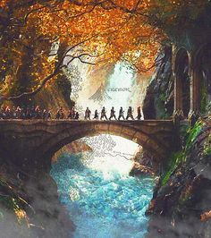 Beautiful pic of the dwarves entering Rivendell. (Why am I suddenly reminded of the line of dwarves in Snow White? Hi ho, hi ho.... ;) )