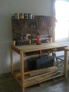 Pallet work bench, pallet desk, pallet tables, easy woodworking projects, d Pallet Work Bench, Pallet Desk, Pallet Furniture, Pallet Tables, Easy Woodworking Projects, Diy Pallet Projects, Unique Home Decor, Home Decor Items, Workbench Plans Diy