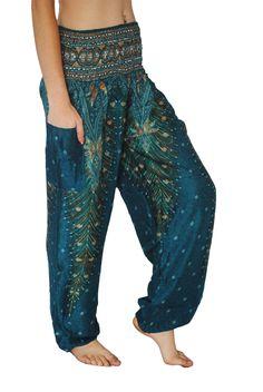 Turquoise Peacock Harem Pants - i like the fabric and the idea of the pocket