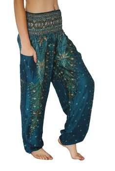 Turquoise Peacock Harem Pants