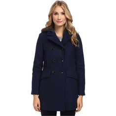 Marc New York by Andrew Marc Erica DB Quilt Women's Coat, Navy ($166) ❤ liked on Polyvore featuring outerwear, coats, navy, hooded quilted coat, navy blue coat, double breasted pea coat, blue coat and navy pea coat