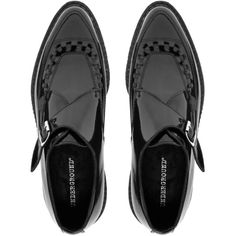 Underground Hacienda Monk Black Patent Creepers ($72) ❤ liked on Polyvore featuring shoes, flats, обувь, black shoes, pointed toe flats, black patent leather flats, black buckle flats and creeper shoes