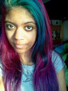 Blue punk purple hair