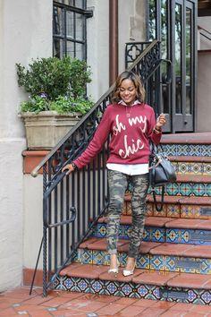 camouflage pants, graphic sweatshirt, ily couture, henri bendel whitney bag, steve madden proto, dallas blogger, fashion blogger, detroit fashion blogger, how to wear camo